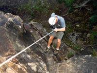 Rappelling in the Appalachian Mountains